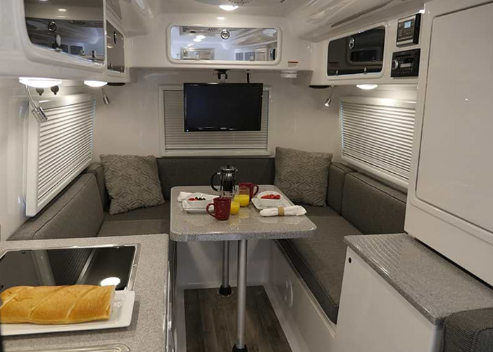 travel trailers inside luxury rv
